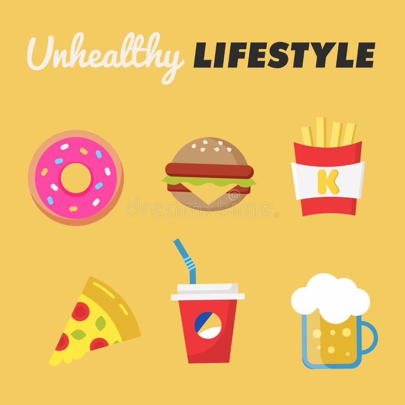 Forma de vida malsana Concepto de forma de vida malsana Buñuelo, cerveza, fritadas, hamburguesa, pizza, soda Ilustración del vect ilustración del vector