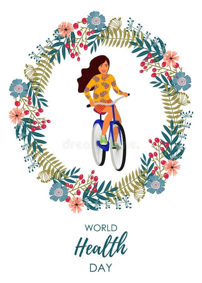 Forma de vida sana Ejemplo del vector con la muchacha en una bicicleta dentro de una guirnalda floral en un fondo blanco libre illustration