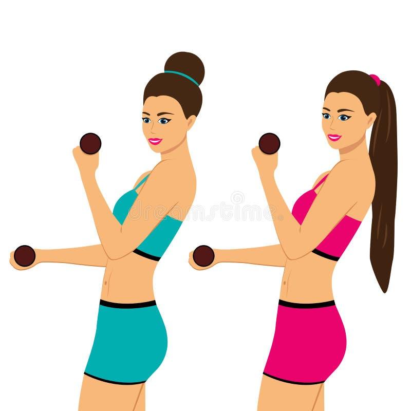 Forma de vida sana salud Se divierte a la muchacha ilustración del vector