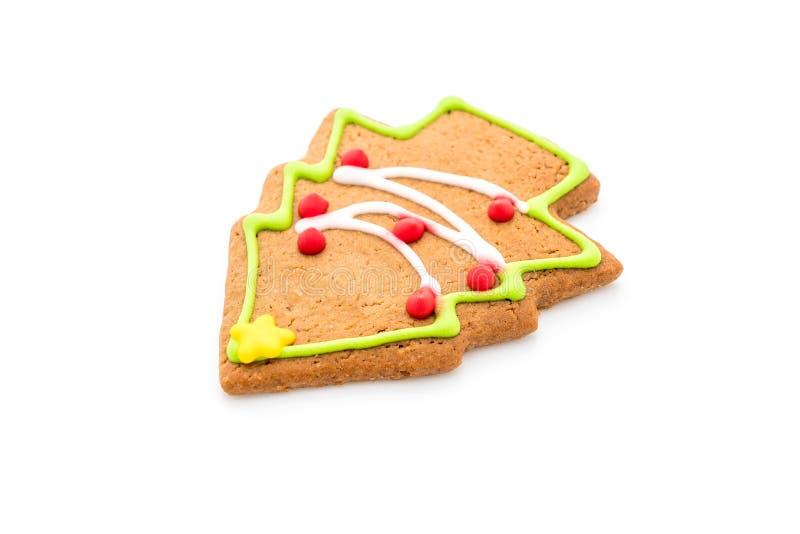 Forma del árbol de navidad del pan de jengibre en blanco fotos de archivo