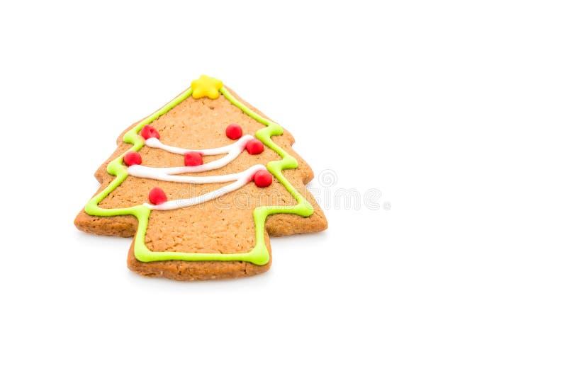Forma del árbol de navidad del pan de jengibre en blanco fotos de archivo libres de regalías