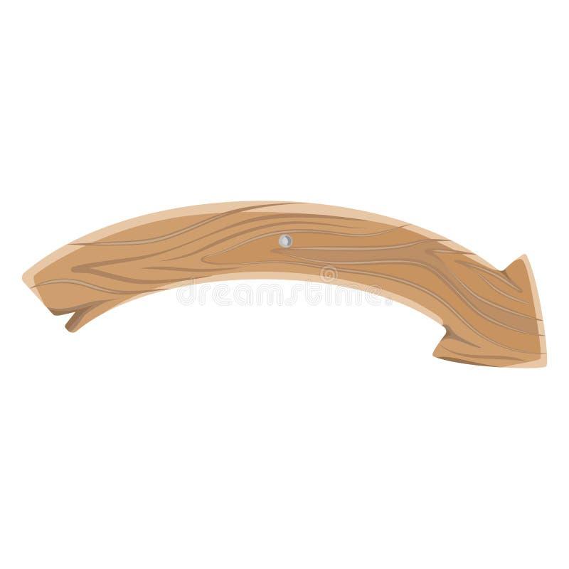 Forma del arco de Bent Wooden Sign Pointing Arrow aislada ilustración del vector