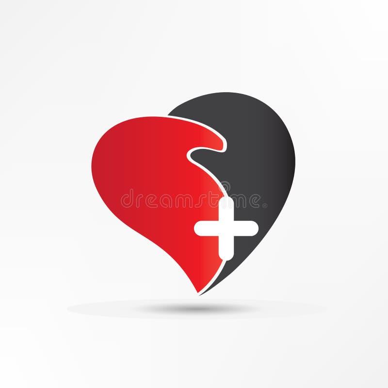 Forma del corazón del amor del apretón de manos con el logotipo cruzado libre illustration