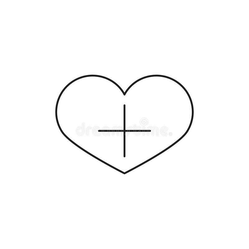 Forma del corazón con el icono linear del signo más Añada al icono del vector de los favoritos Línea ejemplo fina bookmark Símbol libre illustration