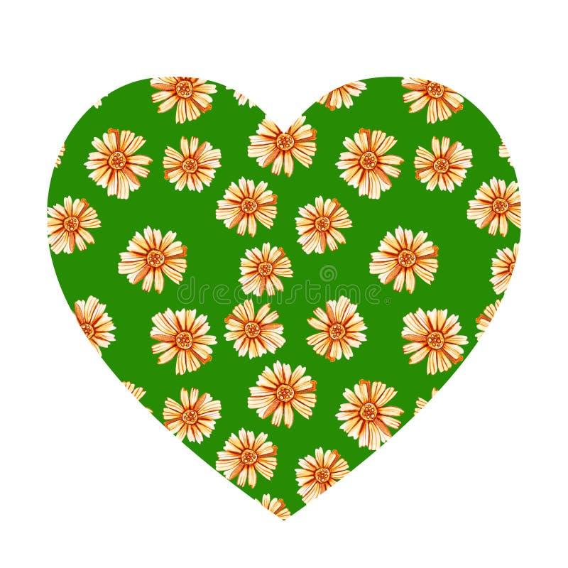 Forma del corazón con las margaritas amarillo-naranja foto de archivo libre de regalías