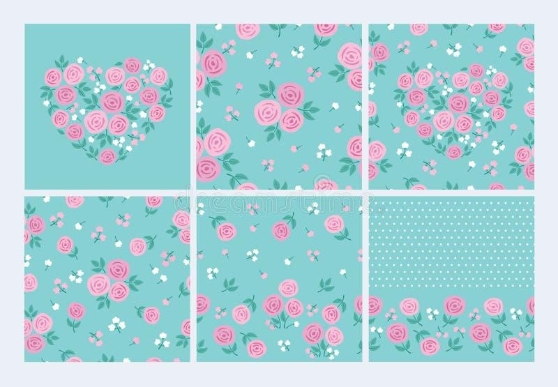 Forma del corazón con las rosas y las hojas Modelo inconsútil con las flores rosadas libre illustration
