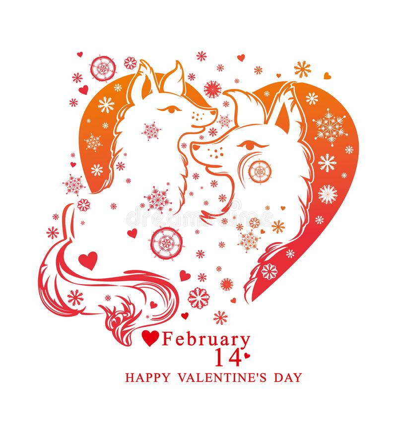 Forma del corazón con los copos de nieve y pares de perros lindos stock de ilustración