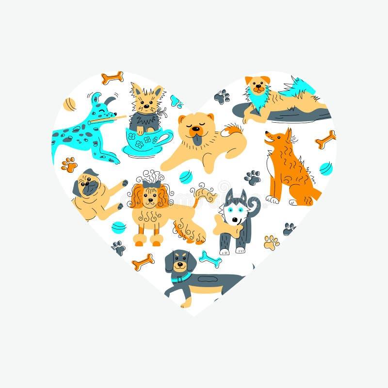 Forma del corazón con los perros exhaustos del estilo del bosquejo de la mano ilustración del vector