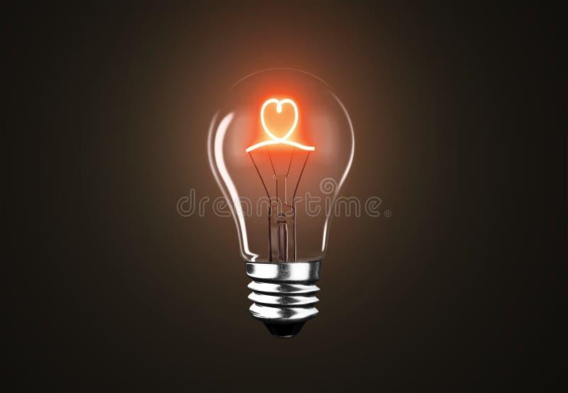 Forma del corazón de la lámpara de la bombilla en el fondo negro, representación 3D ilustración del vector