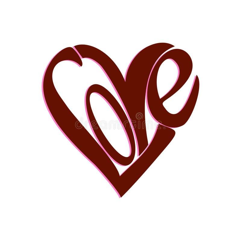 Forma del corazón de la palabra del AMOR stock de ilustración