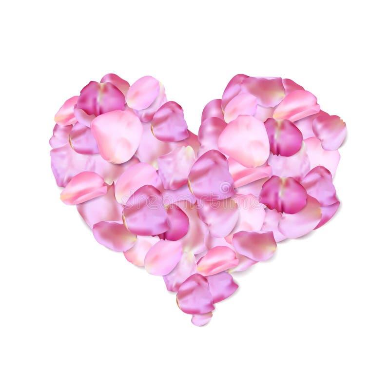 Forma del corazón de pétalos rosados ilustración del vector
