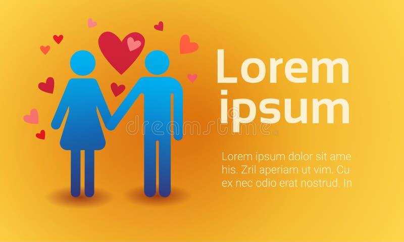 Forma del corazón del amor de los pares de Valentine Day Gift Card Holiday ilustración del vector