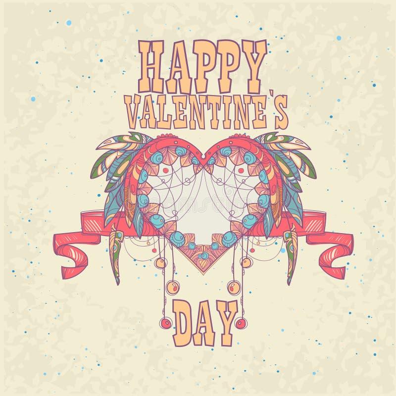 Forma del corazón del amor de Valentine Day Gift Card Holiday libre illustration