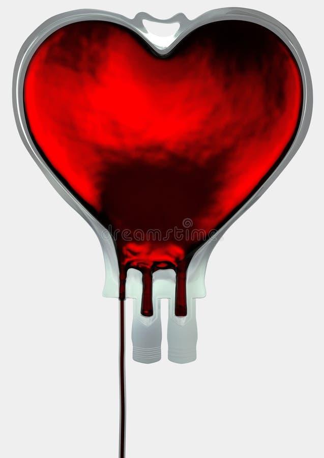 Forma del corazón del bolso de la sangre fotografía de archivo
