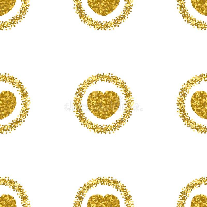 Forma del corazón del brillo del oro Modelo del brillo del corazón Chispas del oro stock de ilustración