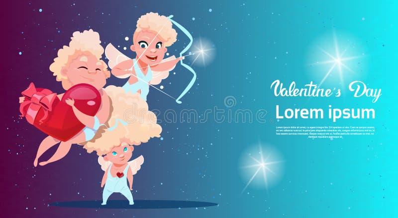 Forma del corazón del cupido del amor del amorío de Valentine Day Gift Card Holiday ilustración del vector