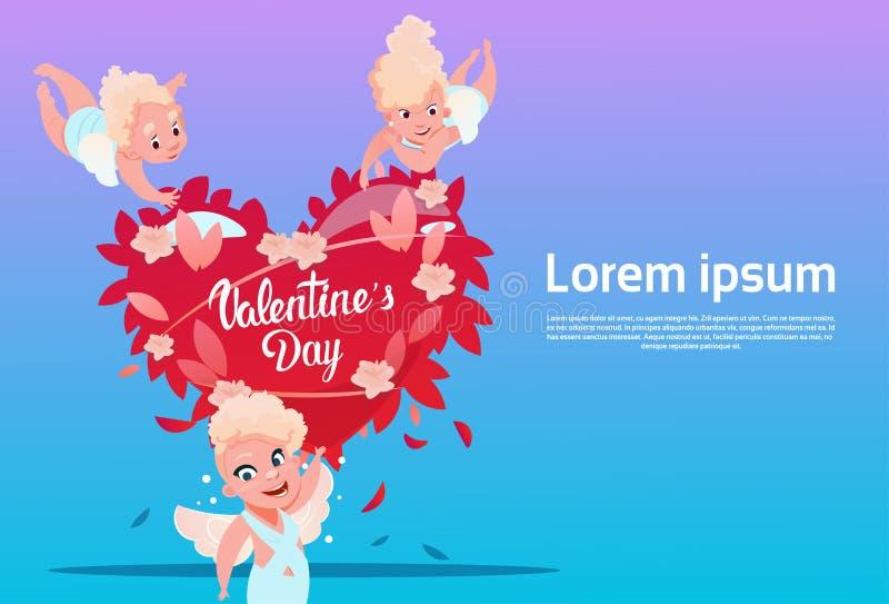 Forma del corazón del cupido del amor del amorío de Valentine Day Gift Card Holiday stock de ilustración