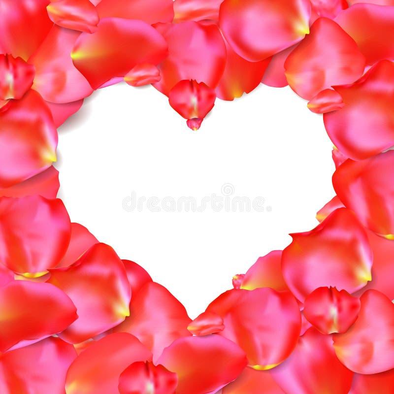 Forma del corazón del vector rojo de los pétalos libre illustration