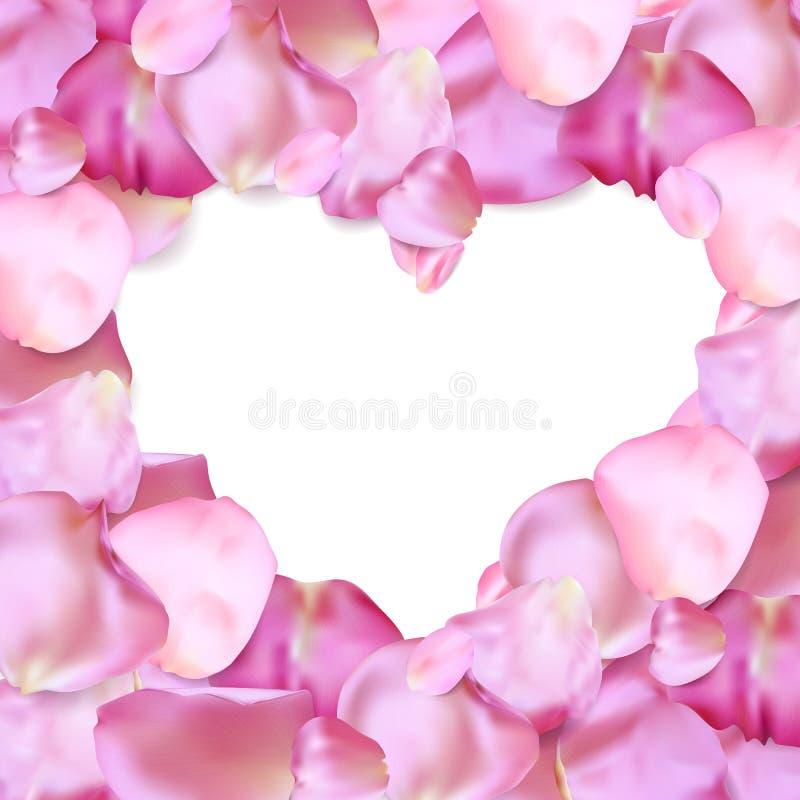 Forma del corazón del vector rosado de los pétalos ilustración del vector