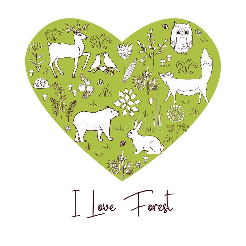 Forma del corazón del vintage con los animales y las plantas del bosque ilustración del vector