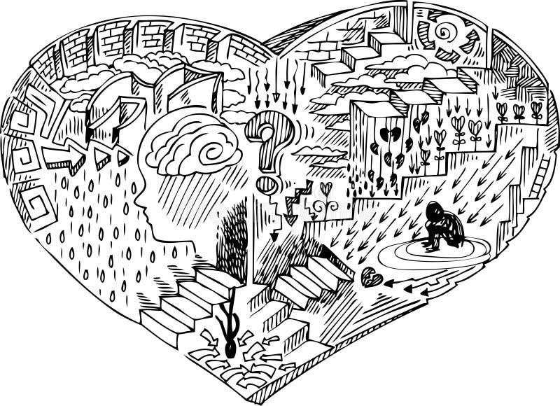 Forma del cuore con gli scarabocchi illustrazione vettoriale