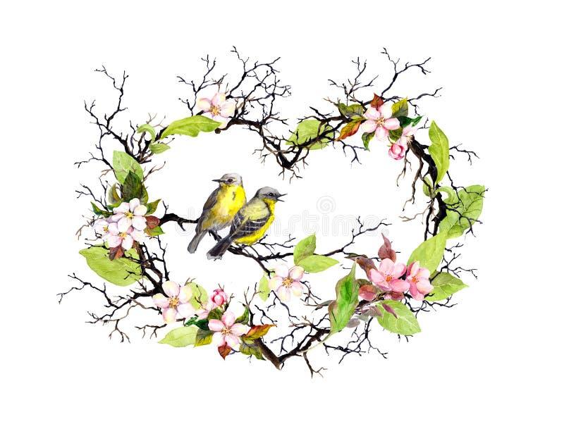 Forma del cuore con i ramoscelli, i fiori della molla, le foglie e due uccelli Corona floreale dell'acquerello per nozze illustrazione di stock