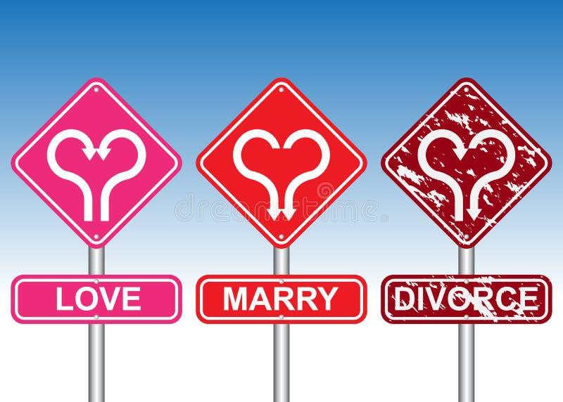 Forma del cuore con la freccia sul cartello illustrazione di stock