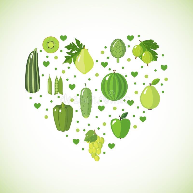 Forma del cuore con la frutta e le verdure verdi illustrazione di stock