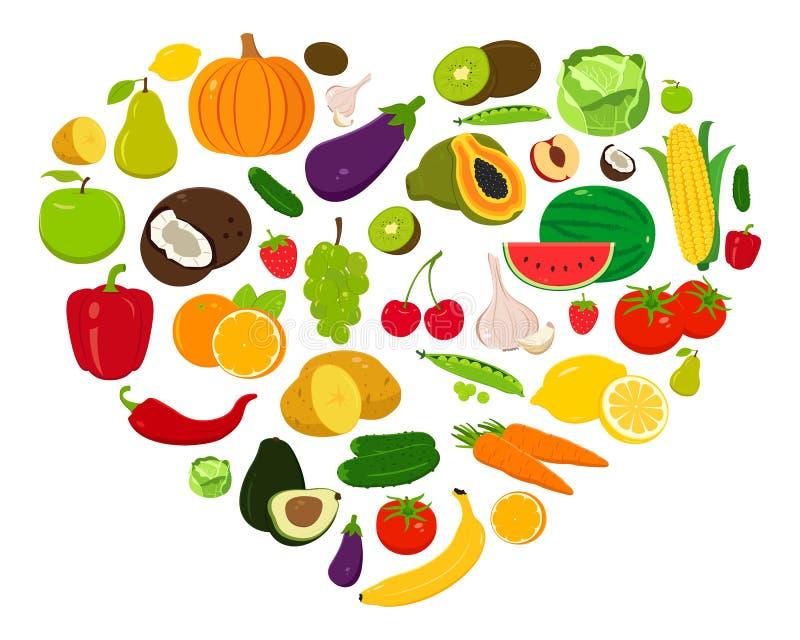 Forma del cuore con la frutta e le verdure Vettore illustrazione vettoriale