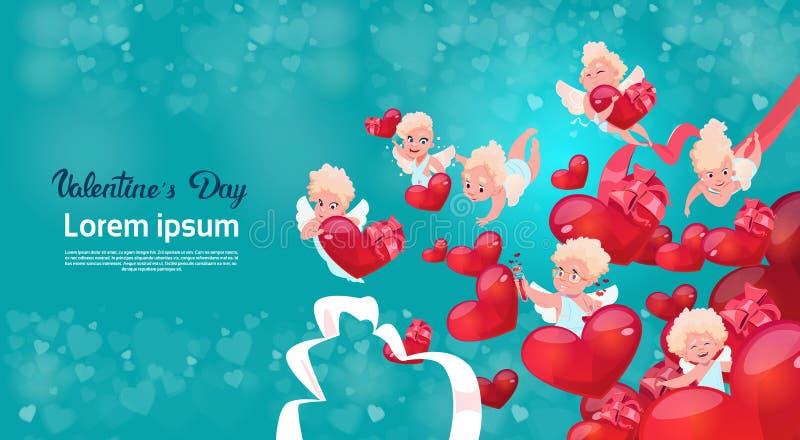 Forma del cuore del cupido di amore di tresca di Valentine Day Gift Card Holiday illustrazione di stock