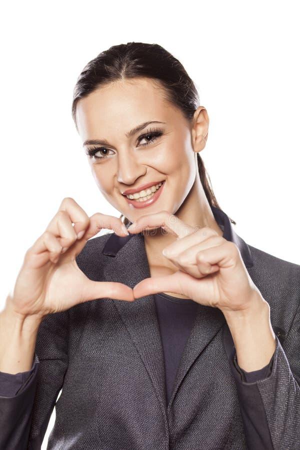 Forma del cuore del dito fotografia stock