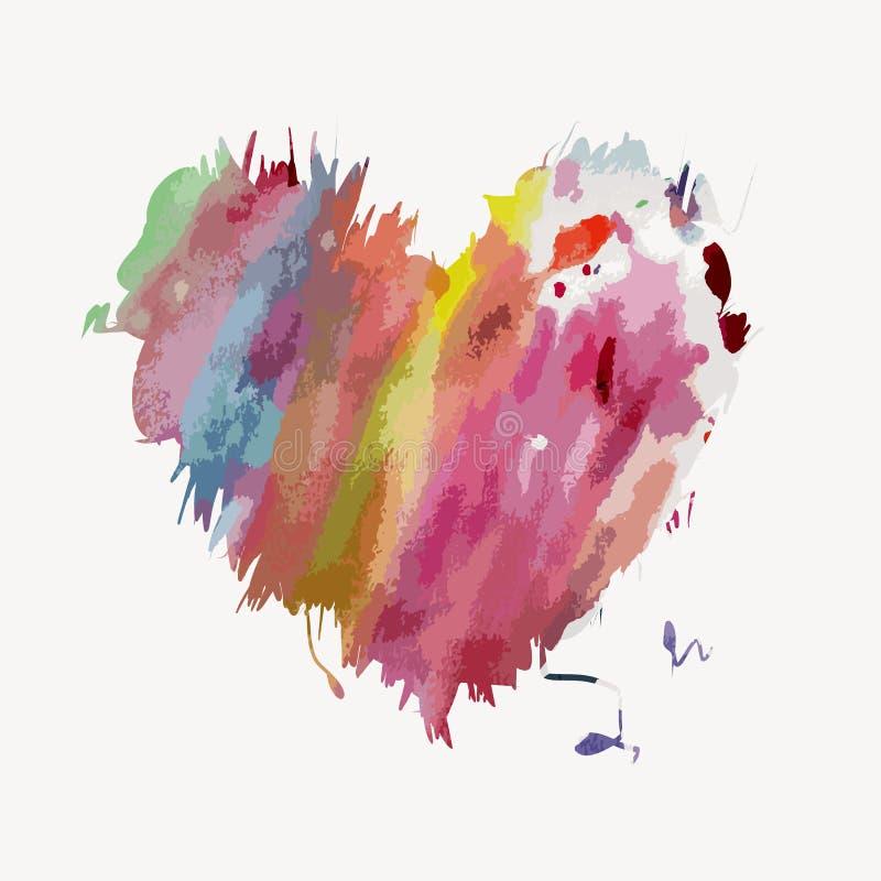 Forma del cuore dell'acquerello illustrazione vettoriale