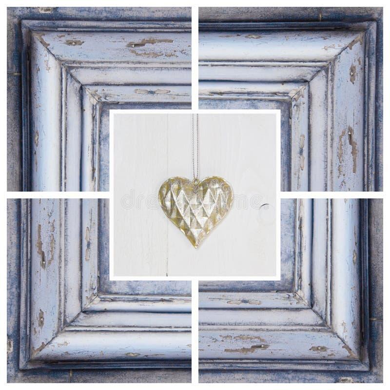 Forma del cuore dell'oro e struttura di legno - cartolina d'auguri per il compleanno immagini stock libere da diritti