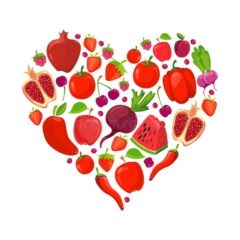 Forma del cuore della frutta e delle verdure rosse illustrazione di stock