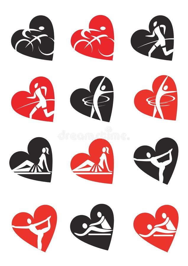 Forma del cuore delle icone di forma fisica royalty illustrazione gratis