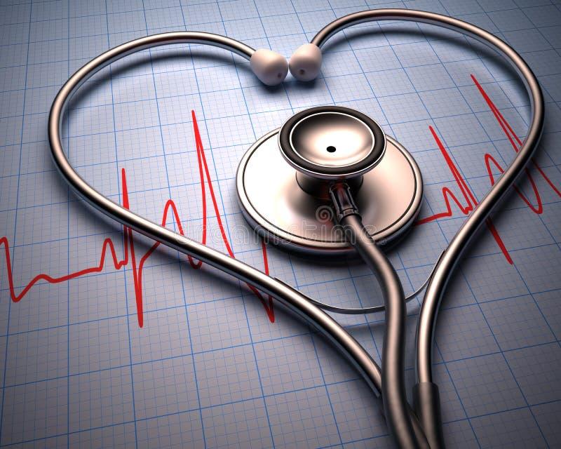 Forma del cuore dello stetoscopio immagine stock