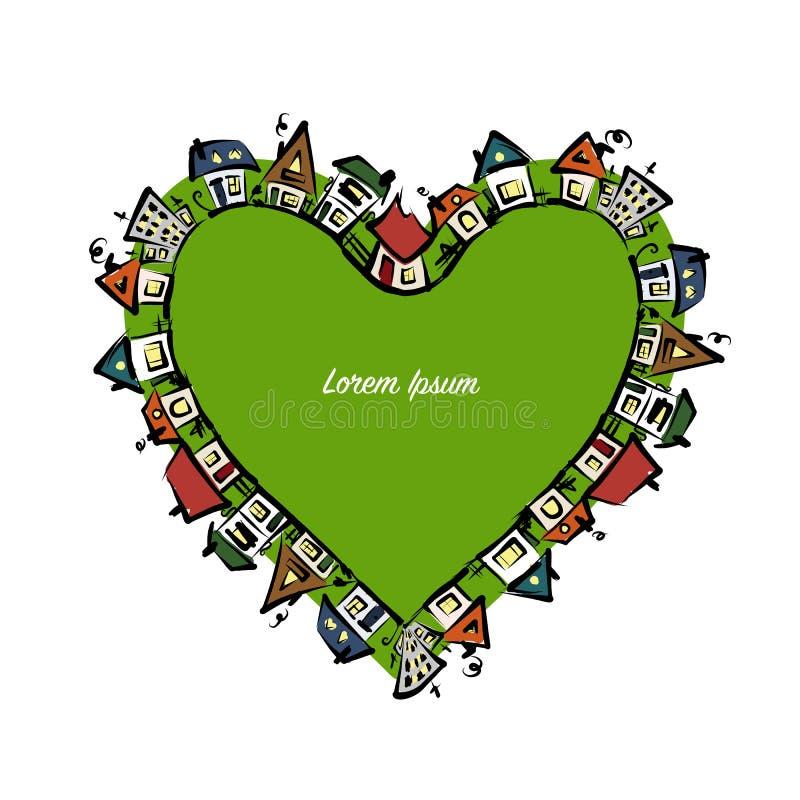 Forma del cuore di paesaggio urbano, schizzo astratto delle case per la vostra progettazione royalty illustrazione gratis