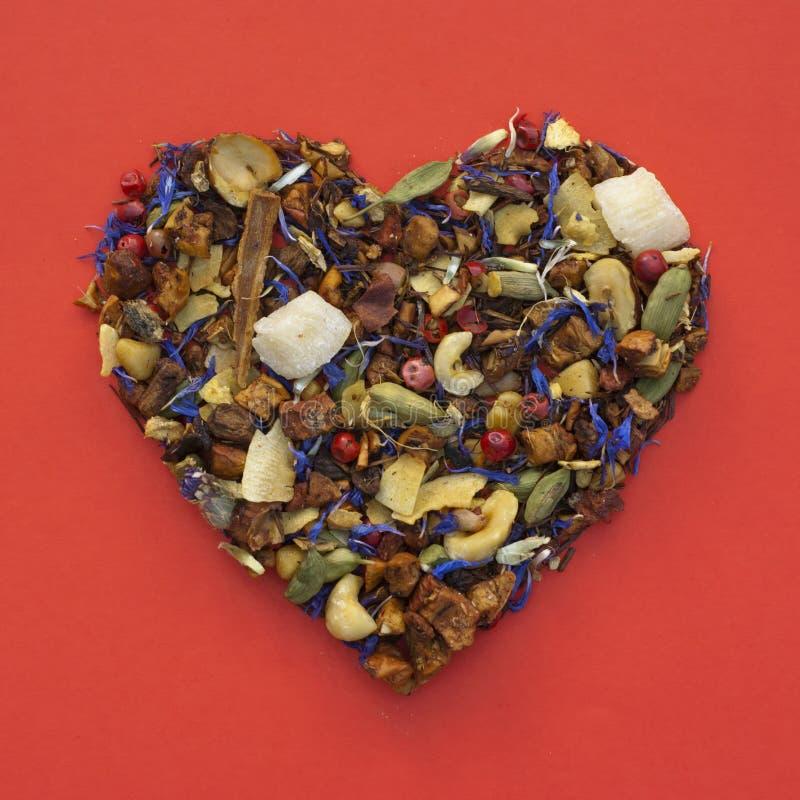 Forma del cuore di tè fotografie stock libere da diritti