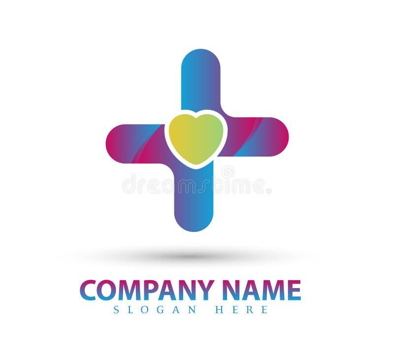 Forma del cuore di vettore, cura, bellezza Logo Icon Design medico illustrazione vettoriale