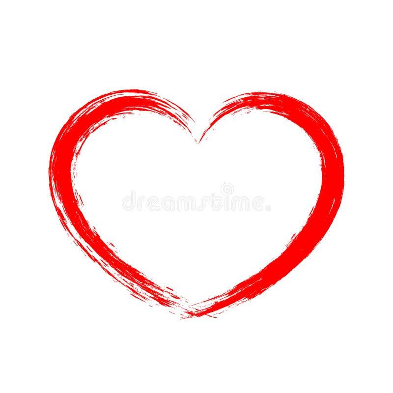 Forma del cuore di vettore Struttura rossa della spazzola Disegno di vettore illustrazione di stock
