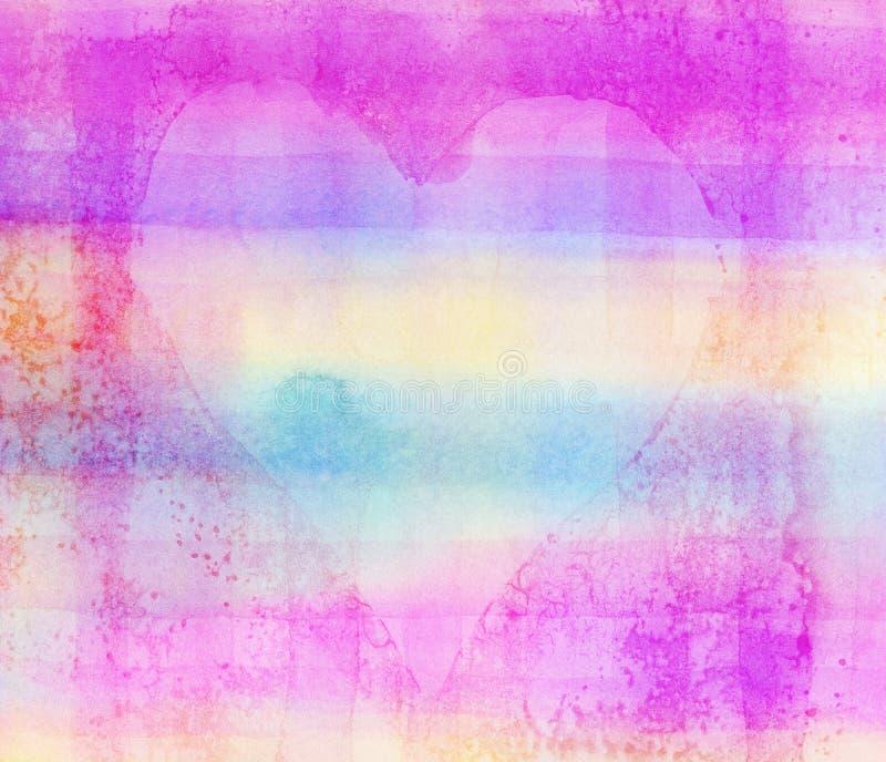 Forma del cuore dipinta sul fondo variopinto astratto leggero dell'acquerello immagini stock libere da diritti