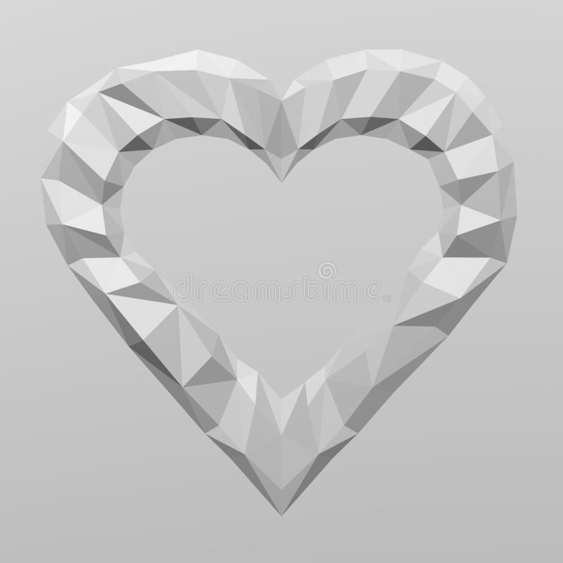 Forma del cuore su fondo di superficie geometrico poligonale bianco royalty illustrazione gratis