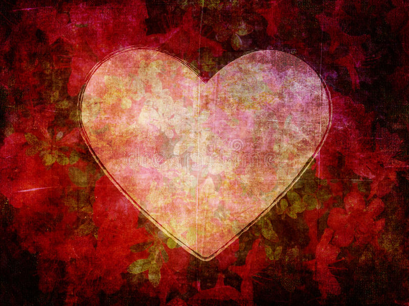 Forma del cuore sul fondo scuro della carta del fiore di lerciume immagine stock libera da diritti