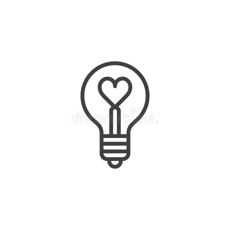 Forma del cuore in una linea icona della lampadina illustrazione di stock