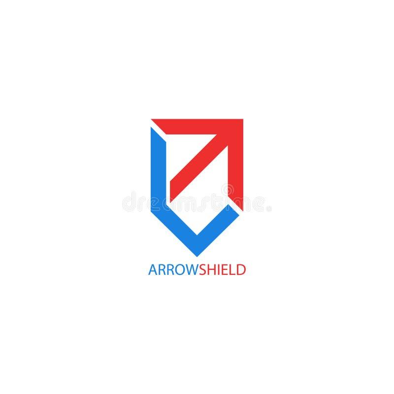 Forma del escudo del logotipo de la flecha, crecimiento creativo del símbolo, confiabilidad y estabilidad para el negocio financi stock de ilustración