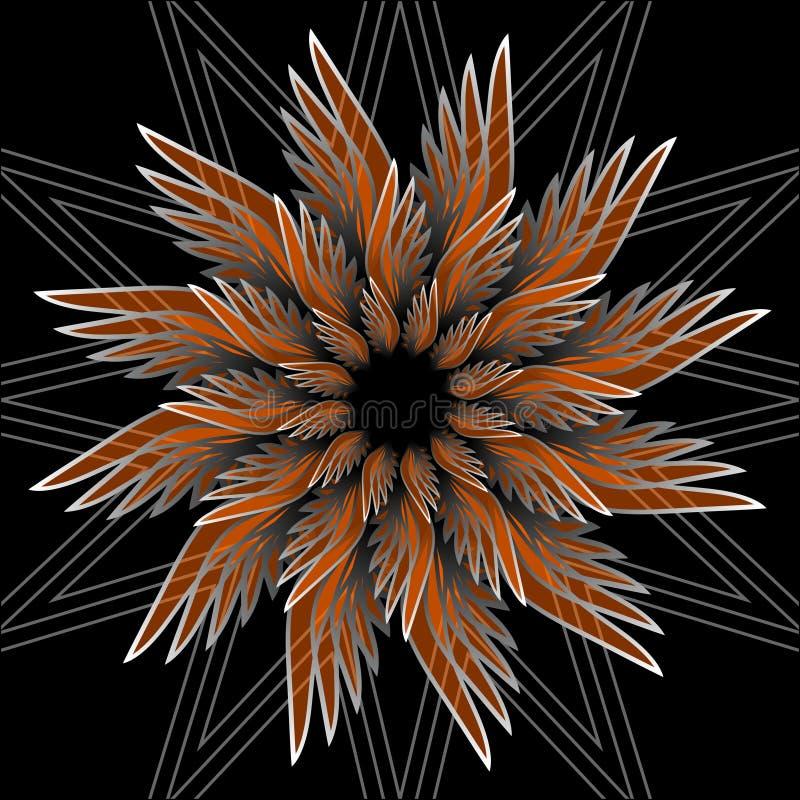 Forma del fiore di fantasia con effetto 3d Forma arancio della stella su fondo nero Vettore nello stile di frattale illustrazione di stock
