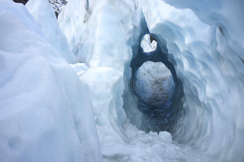 Forma del hielo del agujero de la cerradura en Franz Josef Ice Glacier, Nueva Zelanda fotos de archivo