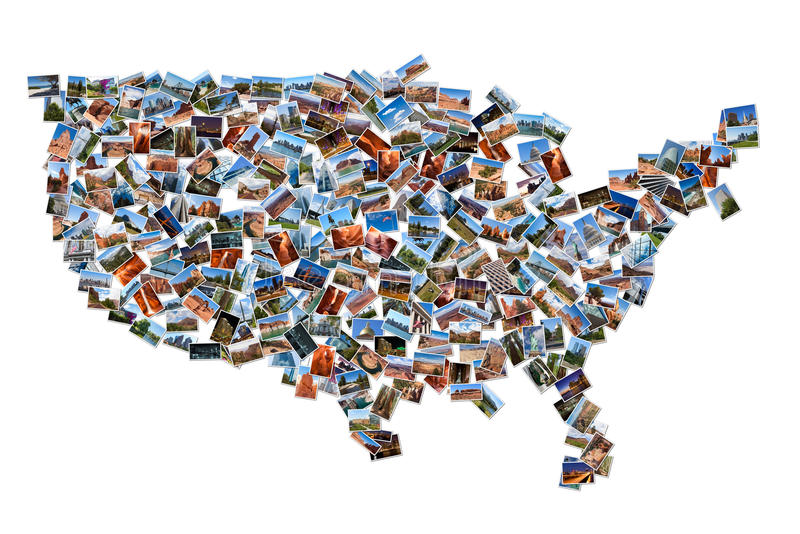Forma del mapa de los E.E.U.U. dibujada con las imágenes imagen de archivo libre de regalías