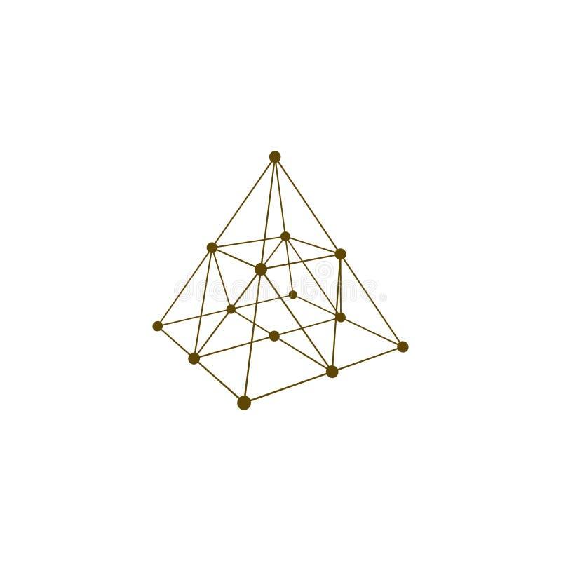 Forma Del Marco Del Alambre Pirámide Con Las Líneas Y Los Puntos ...