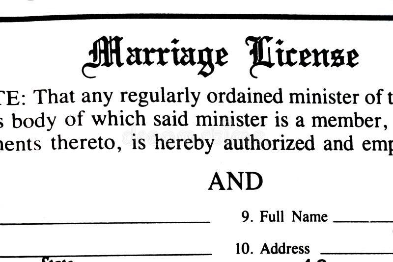 Forma del permiso de matrimonio foto de archivo libre de regalías